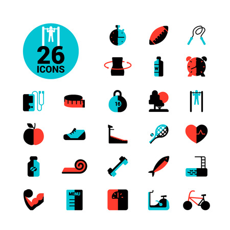 healthy sport: Fitness and sport icon set healthy life flat vector illustration