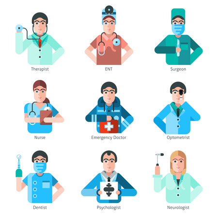 psychologist: Flat icons set of doctor characters from different specializations in medicine isolated vector illustration