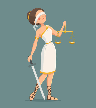themis: Blindfolded Greek justice lady with sword and scales cartoon vector illustration Illustration