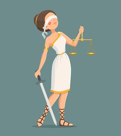 ojos vendados: Con los ojos vendados la Justicia griega con la espada y las escalas de ilustraci�n vectorial de dibujos animados