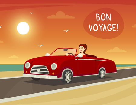 voyage: Woman driving a red cabriolet with bon voyage title cartoon vector illustration Illustration