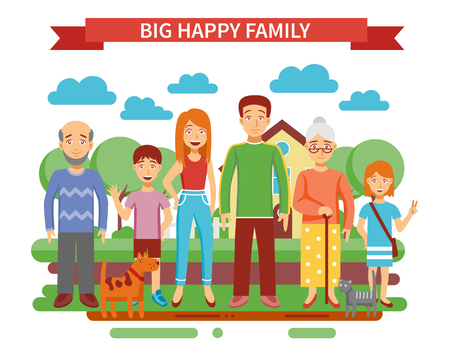 sisters: Big happy family concept with parents and grandparents flat vector illustration