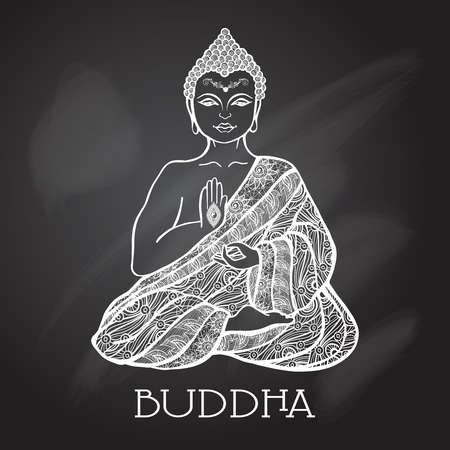 Chalk board buddha silhouette  sitting in lotus position vector illustration