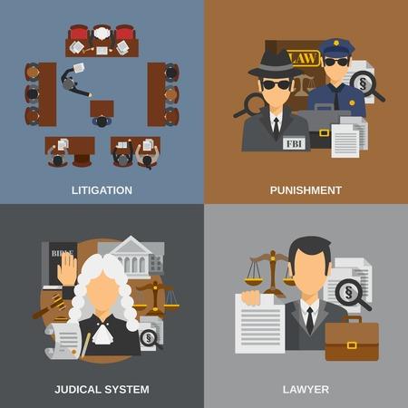 abogado: concepto de diseño Ley establece con la ilustración vectorial iconos planos de castigo aislado Vectores