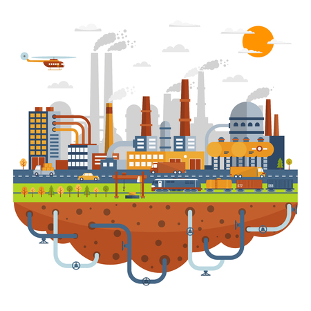 railway transportation: Industrial city concept with chemical plants buildings with tubes vector illustration  vector illustration.