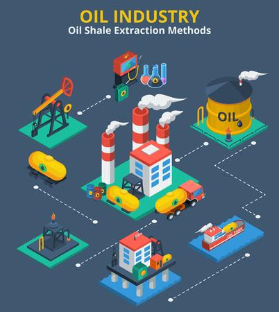 tanque de combustible: La industria petrolera concepto isométrica con el proceso de transporte de combustible iconos 3d ilustración vectorial Vectores
