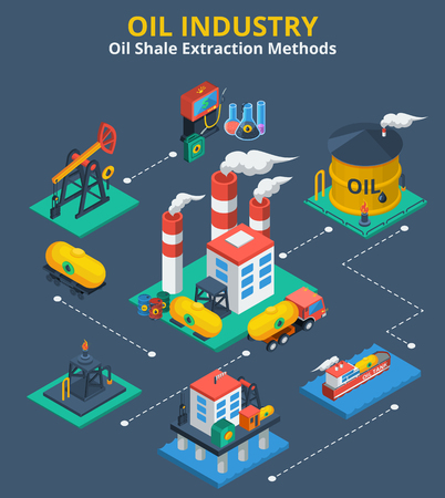 Oil industry isometric concept with fuel transportation process 3d icons vector illustration