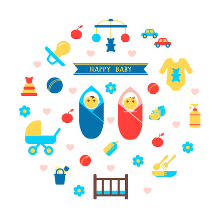 twin bed: Boy and girl baby set with products for newborns flat isolated vector illustration