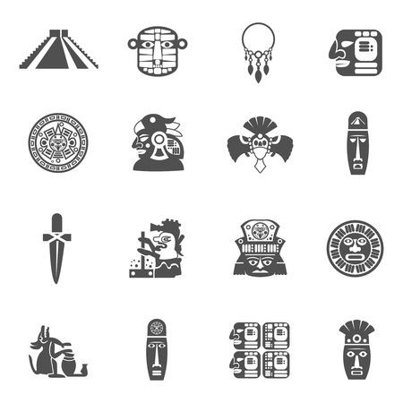 cultura maya: Maya iconos conjunto negro con s�mbolos tradicionales de la cultura ind�gena mexicana aislado ilustraci�n vectorial