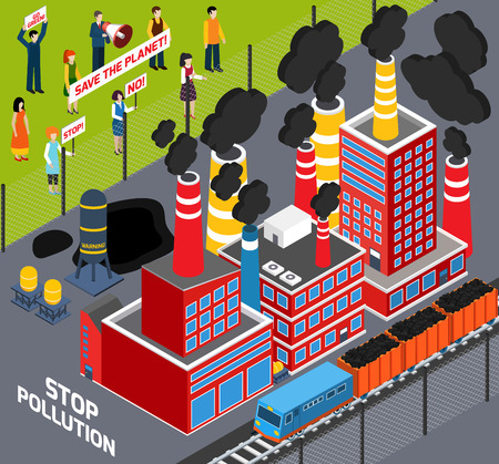 pollution: Isometric icons set  with  humans  protest action against Industrial pollution  vector illustration