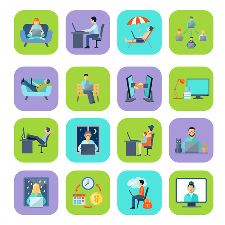 Freelance remote work at home or anywhere and anytime flat color icon set isolated vector illustration