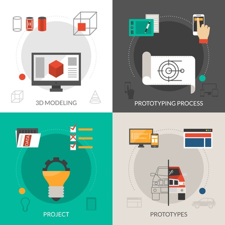 Prototyping and modeling design concept set with 3d project icons isolated vector illustration