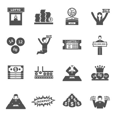loteria: iconos negros de lotería se establece con la gente apostando y ganando ilustración vectorial aislado