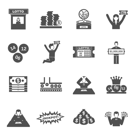 Lottery black icons set with people betting and winning isolated vector illustration