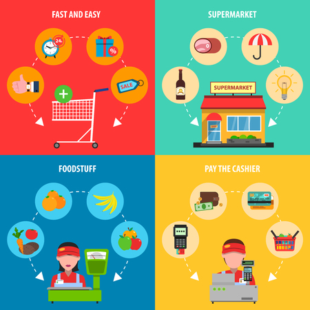 foodstuff: Supermarket concept set with foodstuff and cashier flat icons isolated vector illustration Illustration