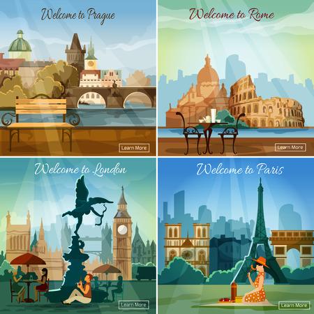 monumento: Mundos turismo Vacaciones famosos tours de capitales viajan 4 colección pictogramas plana cuadrada Bandera abstracta ilustración vectorial Vectores