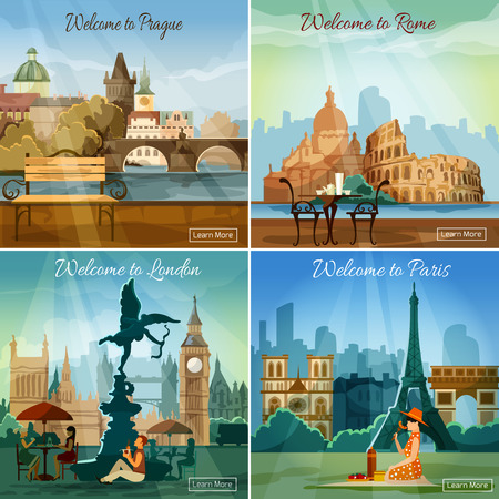 tours: Vacation sightseeing worlds famous capitals tours travel 4 flat pictograms collection square banner abstract isolated vector illustration