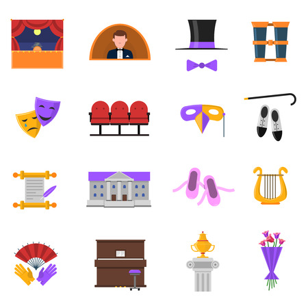 stage performance: Theatre icons set with stage and performance symbols flat isolated vector illustration