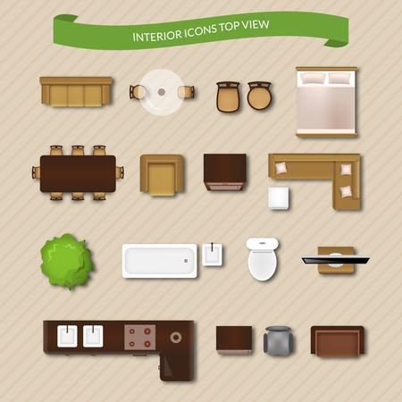 Binnenlandse pictogrammen bovenaanzicht met geïsoleerde sofa fauteuil bank vector illustratie Stock Illustratie