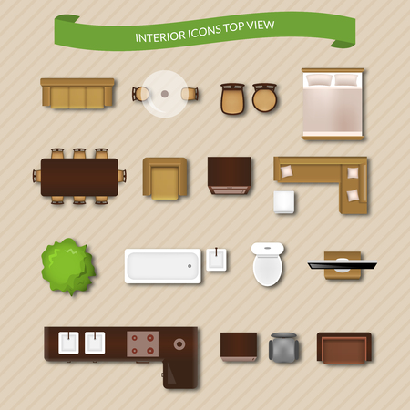 Interior icons top view with sofa armchair couch isolated vector illustration Çizim