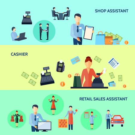 Drie horizontale set van winkelmedewerker kassier en retail sales assistant met titels vectorillustratie flat banners