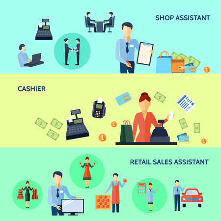 retail sales: Three horizontal flat banners set of shop assistant cashier and retail sales assistant with titles vector illustration