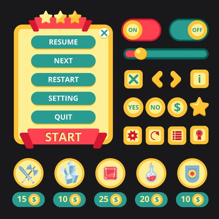 Medieval video game mobile application user interface template vector illustration Illustration
