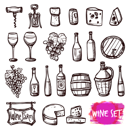 wine growing: Winery farm black doodle pictograms collection for restaurant wine consumption with cheese chasers abstract vector isolated illustration