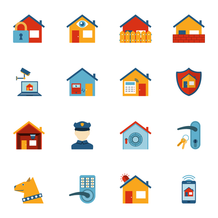 home security: Home security computer system with surveillance camera and shield symbol flat icons set abstract isolated vector illustration