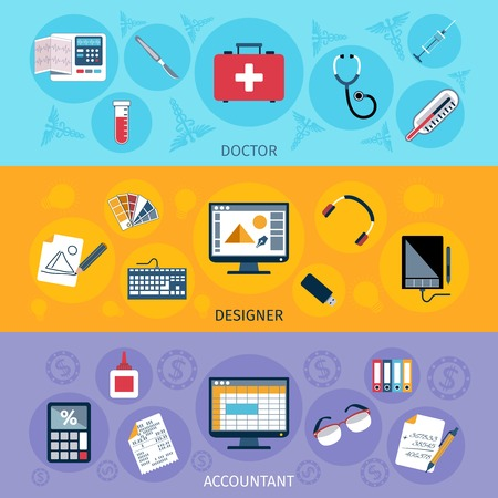 Accountant: Workspace horizontal banner set with doctor designer and accountant tools isolated vector illustration