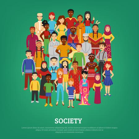 simbolo uomo donna: Mondiale la societ� e le nazioni concetto su sfondo verde illustrazione vettoriale piatta Vettoriali