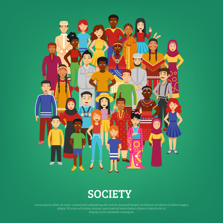 Wereldsamenleving en naties concept op groene achtergrond plat vector illustratie