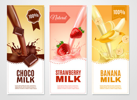 Sweet milk vertical realistic banners set with banana choco and strawberry milk isolated vector illustration