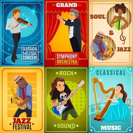 computerized: Jazz playing musicians and classical symphony orchestra conductor 6 flat banners composition poster abstract isolated vector illustration Illustration