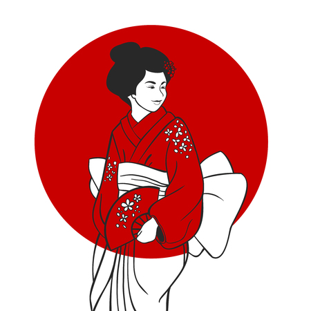 traditional clothing: Japanese geisha in traditional clothing portrait with red sun circle on background vector illustration