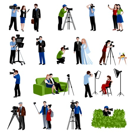 paparazzi: Photographer and videographer icons set with cameras light and selfie flat isolated vector illustration