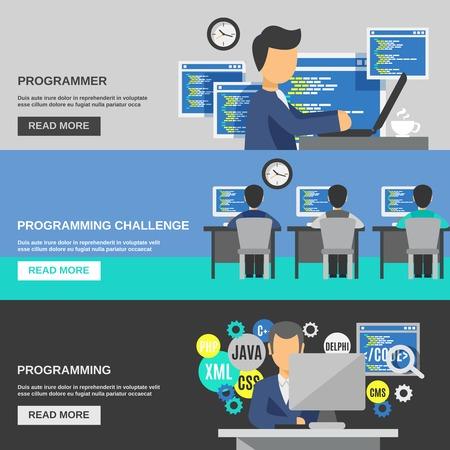 프로그래머 가로 배너 프로그래밍 요소 절연 벡터 일러스트와 함께 설정