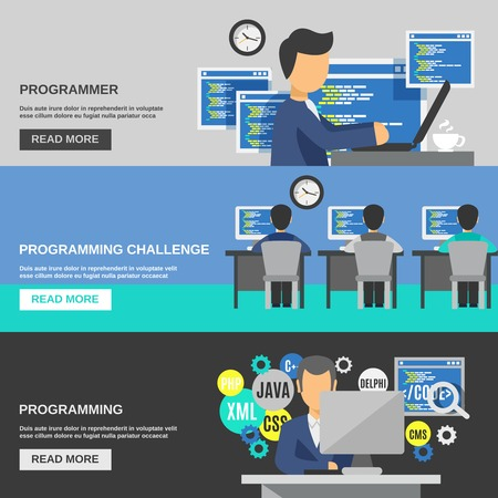 programer: Programmer horizontal banner set with programming elements isolated vector illustration Illustration