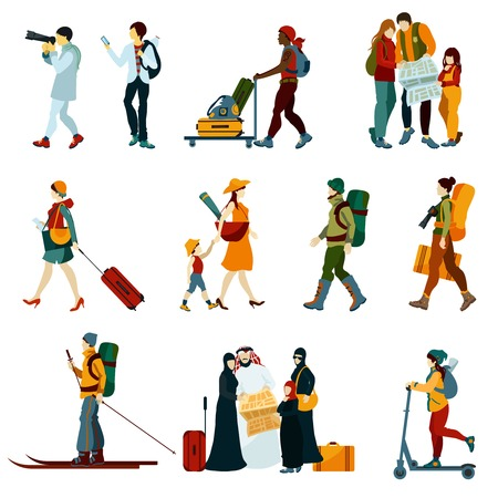 symbol tourism: Touristic people set with males and females with backpacks and maps isolated vector illustration Illustration