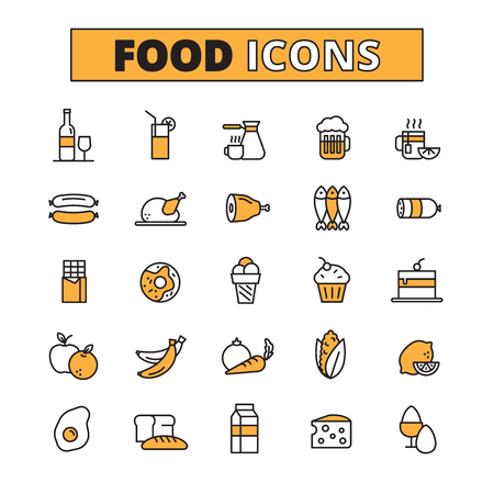 Food and drink line icons set with fruit and vegetables soft and hard drinks flat isolated vector illustration