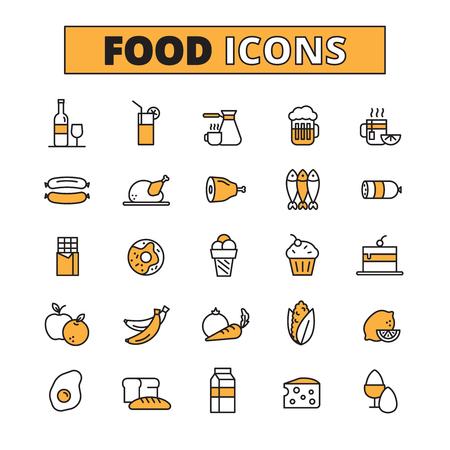huevo: Comida y bebida línea iconos conjunto con frutas y verduras suaves y bebidas duras aislada plana ilustración vectorial Vectores