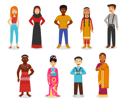 the country: Different people icons set with Japanese Indian and Afro-American flat isolated vector illustration
