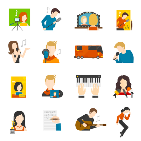 pop singer: Pop music singer and concert flat icons set isolated vector illustration