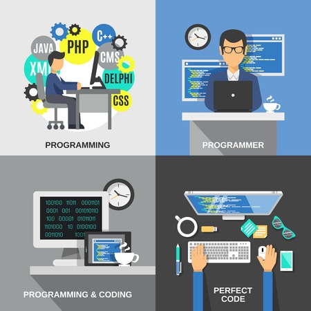 programer: Programmer design concept set with coding flat icons isolated vector illustration Illustration
