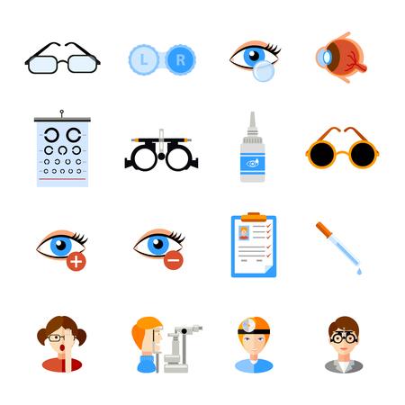 lentes de contacto: Iconos Oftalmología establecidos con los ojos y los símbolos de tratamiento plana aislado ilustración vectorial
