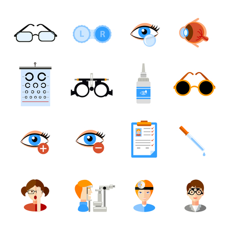 contact business: Ophthalmology icons set with eyes and treatment symbols flat isolated vector illustration