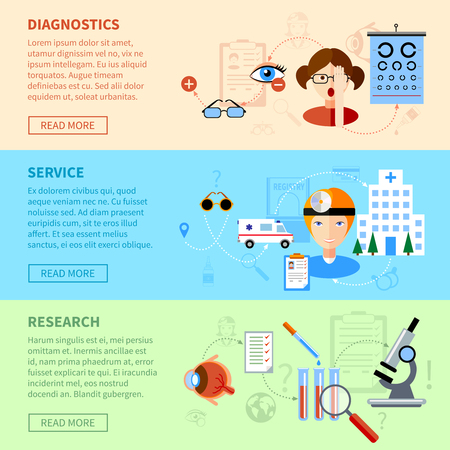 examen de la vista: Eyesight problems horizontal banners set with diagnostics service and research symbols flat isolated vector illustration