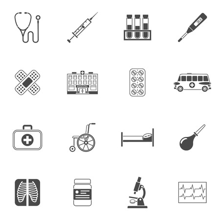 wheelchair users: Medical icons black set with stethoscope syringe and blood test isolated vector illustration
