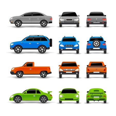 front wheel drive: Cars side front and back icons set isolated vector illustration Illustration