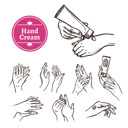 moisturizing: Applying and spreading hand cream from plastic tube black hand drawn icons set abstract isolated vector illustration